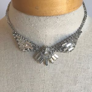 Rhinestone Collar Bib Statement Necklace Formal